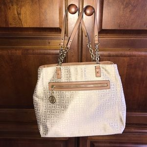 Tommy Hilfiger Tan and Cream Logo Tote Purse